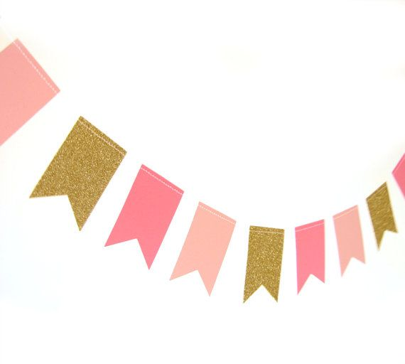Gold and pink paper flag garland gold glitter by Pelemele
