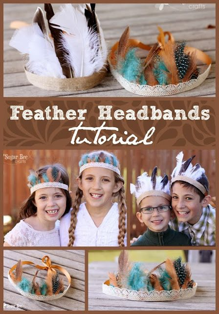 Feather Headbands, in boy and girl version - - such a fun fall accessory! - Sugar Bee Crafts