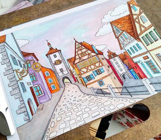 Эскиз для картины на шелке. нарисовано спиртовыми маркерами #promarker и #copic #рисунок #рисую #маркеры #рисунокмаркером #рисунокмаркерами #promarker #графика #скетч #скетчбук #sketch #sketchbook #art #marker #illustration #иллюстрация #город #германия #улица #дома