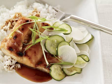 Fish Teriyaki with Sweet-and-Sour Cucumbers http://www.huffingtonpost.com/2011/10/27/fish-teriyaki-with-sweet-_n_1058390.html