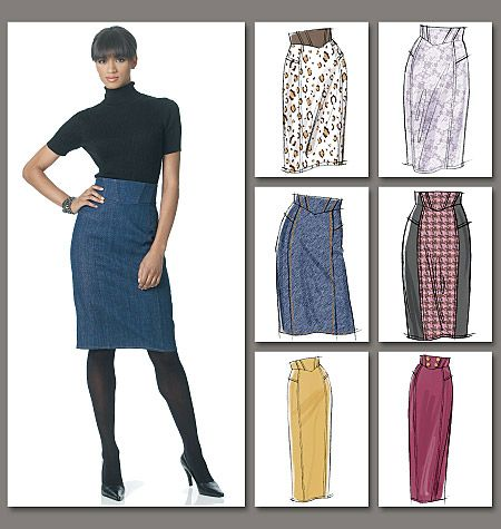 Vogue 8697:  Semi-fitted, tapered, lined skirts A, B, C, D, E, F with shaped waistband, princess seams, back slit, topstitched trim and back zipper.