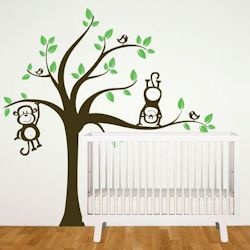 Vinyl Design Wall Stickers -Tree with Monkeys (Pink or Green)