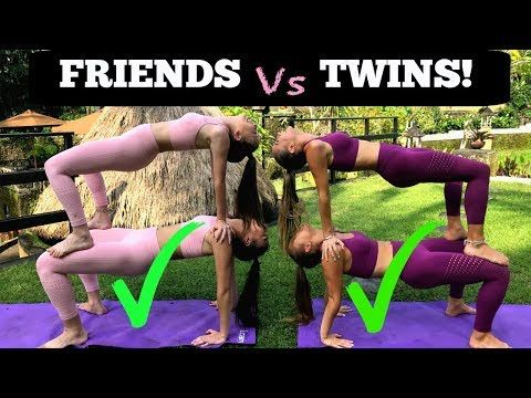 Extreme Yoga Challenge Twins Vs Friends In Bali Youtube Yoga Poses For Two Yoga Challenge How To Do Yoga