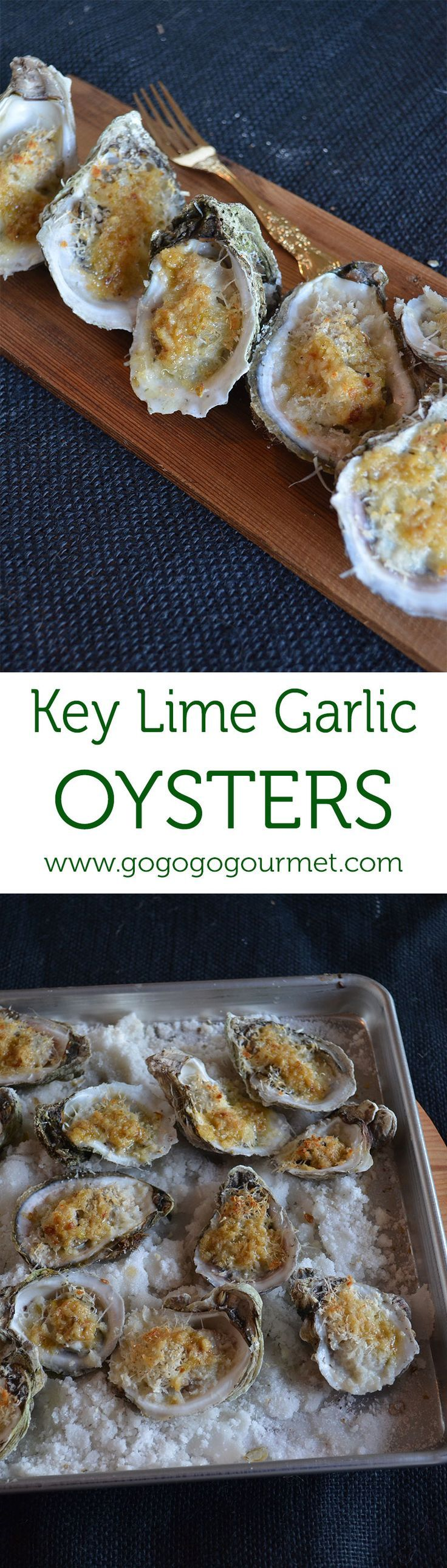 These Key Lime Garlic Oysters are full of citrus flavor, PLUS the baking makes them easier to shuck!   Go Go Go Gourmet @gogogogourmet