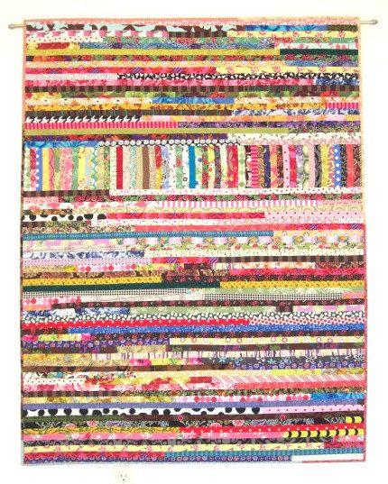 "Boho Scrap Quilt, Wall Quilt, Wall Hanging, Improvisational Quilt, Lap Quilt, Quiltsy, 44"" x 57"" by Karen Griska"