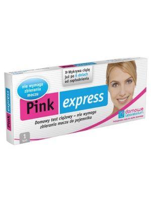 Test Strumieniowy (Pink Express) - strumieniowy test ciążowy jest najwygodniejszym i najprostszym testem w użyciu. Sama możesz wybrać sposób jego aplikacji - końcówkę testu można skierować bezpośrednio pod strumień moczu, albo też, jak w przypadku testu paskowego, zanurzyć ją na około 10 sekund w moczu zebranym uprzednio do suchego i czystego naczynia. Wynik testu odczytujemy po 2 minutach od momentu zanurzenia końcówki testu w moczu.