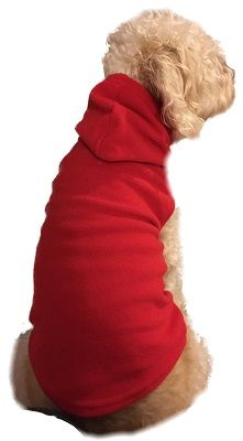 Pet Red Fleece Hoodie  Pet hoodie is fashioned out of a durable soft and warm micro polar red fleece. Hoodie has roomy arm holes instead of sleeves which your pet will enjoy. Matching footed pajamas for the family from 12 months to adult XL. #bigfeetpjs