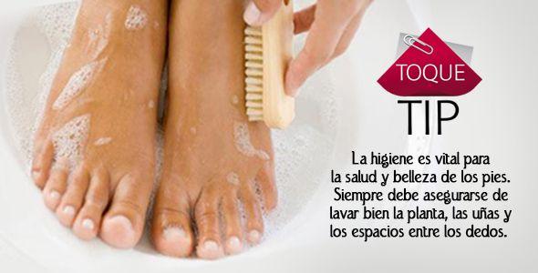 Toque Tip: La higiene es vital para la salud y belleza de los pies. Siempre debe asegurarse de lavar bien la planta, las uñas y los espacios entre los dedos.