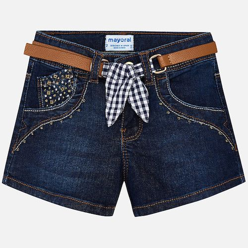 Girls lightweight, faded denim shorts by Mayoral. Soft and stretchy, they are decorated with gem and gold coloured studs. The accompanying belt is made from synthetic leather, and trimmed with fun red gingham check fabric. Classic denim shorts with poplin lining and denim with dark wash effect. Snap button and zipper opening and a belt that ends in a gingham bow.