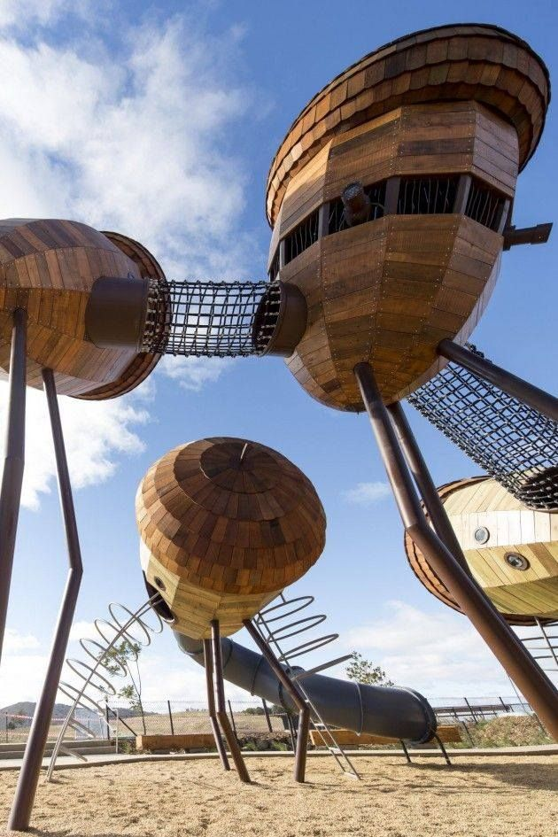 Elevated 'pods' and walkways; could be like giant seed heads