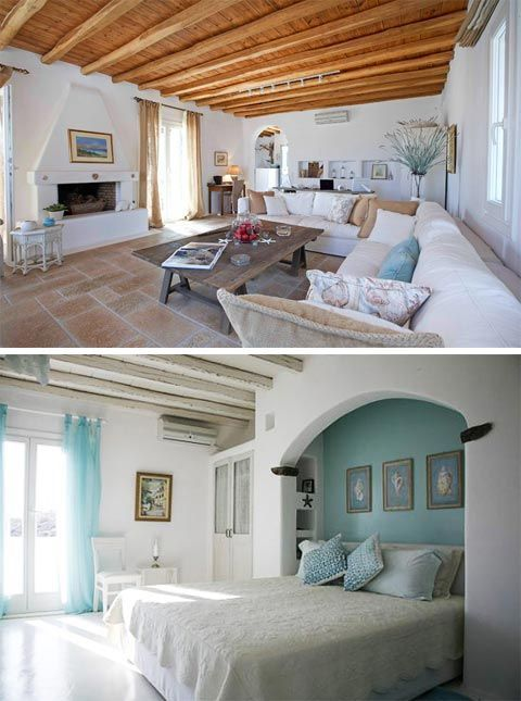 When you look at the images of this home, you can tell it's a Greek seaside home by its thick rounded edge white-washed walls, all curvy and soft, and that distinguishable white and blue color palette. It's all bright, airy and light, balanced out with some strong rustic accents. But then there's an interesting twist …