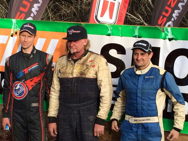 Tony McCall (centre) wins the Woodhill 100 for the 6th time!