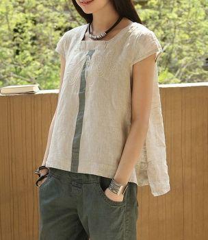 Embroidery Chest Long Hem Linen Tank