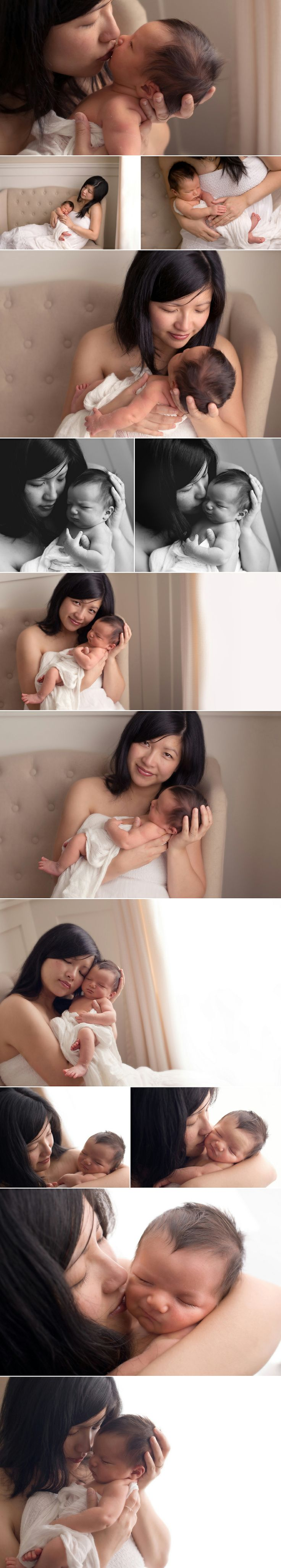Love how the light catches on the textured knitted blanket. Also love many of the mom and baby poses here as well. The connection, emotion and framing are lovely.