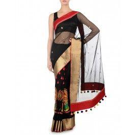 Kathakali Mask Black Sari with Red Border