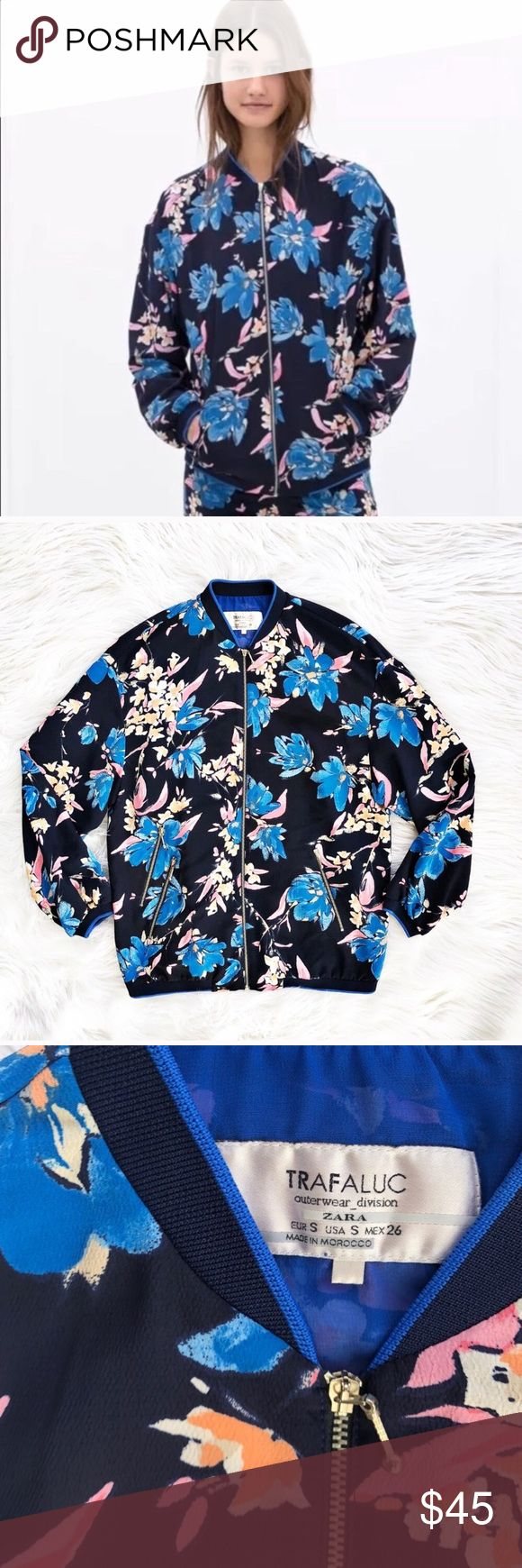 NWOT Zara flora bomber jacket vibrant floral