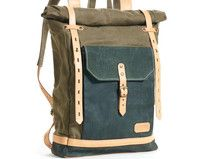 Olive green waxed canvas rucksack. Tan leather