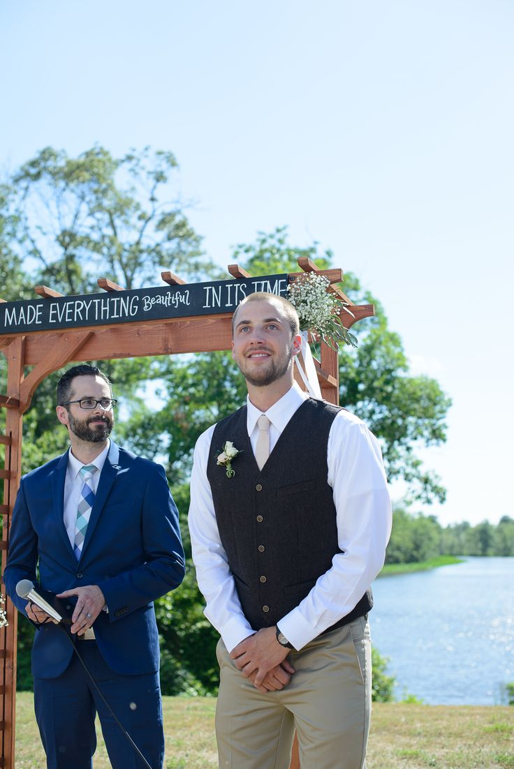 Grooms first reaction to bride walking down aisle | Gilded Isle Photography | gildedisle.com/ #wedding #rustic #DIY #peach #lavender #maryland #christian #bride #groom #detail #firstreaction