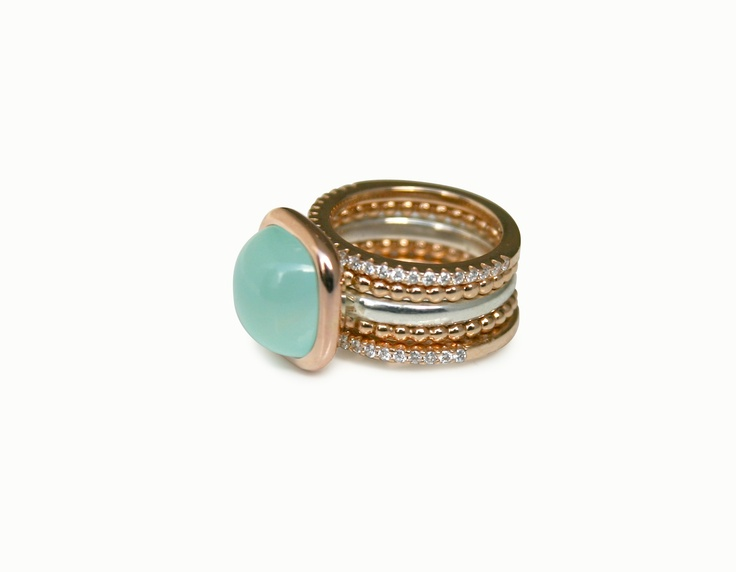 Ringen, zilver/roodgoud/chalcedoon/diamant