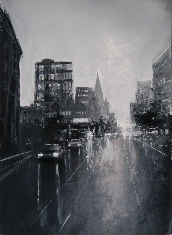 """Grey Dusk"" by S Khan.  #cityscape #reflection #streetscape #blackandwhiteart #art #artwork #city #street #painting #acrylicpainting"