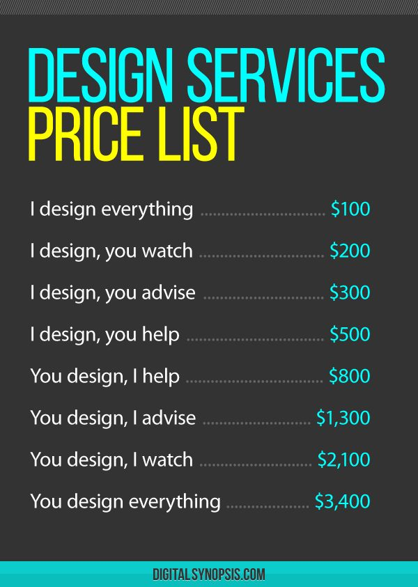 Graphic Design Services Price List Charge Clients Technology Humor Pinterest A Business