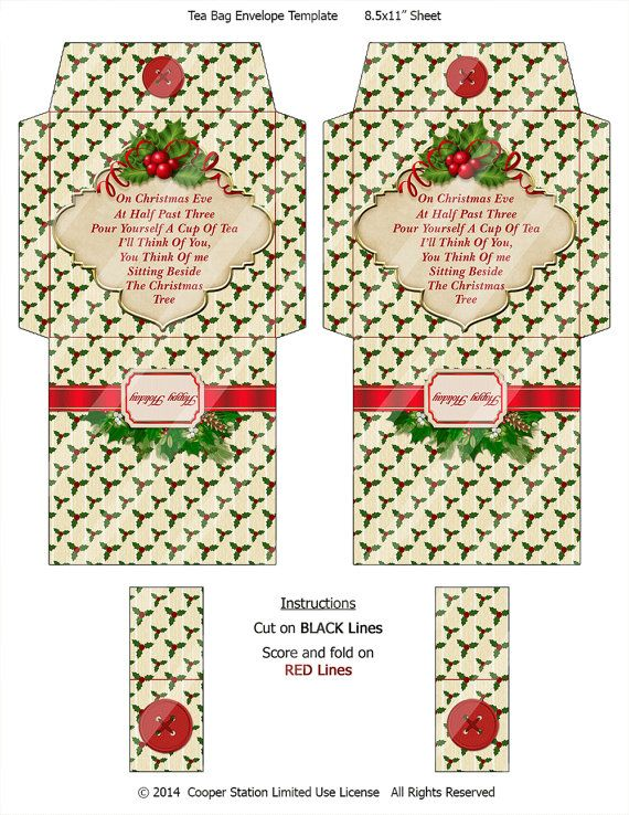 Digital Printable Christmas Tea Wrapper 004