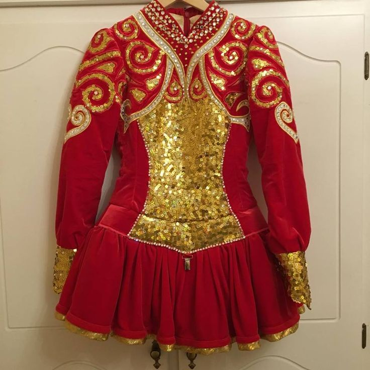 Charming Red Kilkenny Creations Irish Dance Dress Solo Costume For Sale