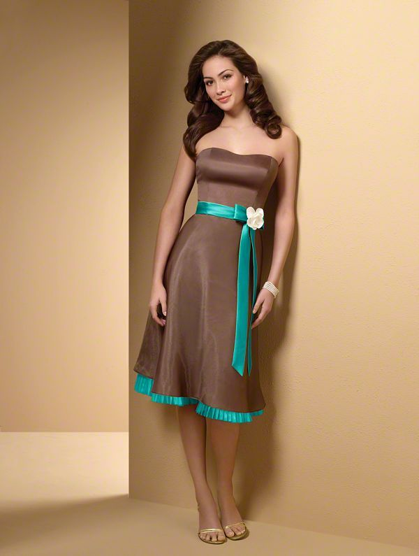 Brown bridesmaid dress with Teal sash I would want straps on the ...