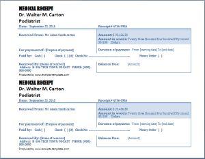 medical receipt format at receipts-templates.com