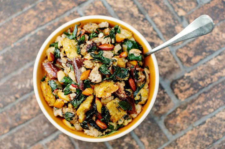 Sourdough stuffing with kale, almonds, dates and turkey sausage recipe (Photo: Emily Berl for The New York Times)