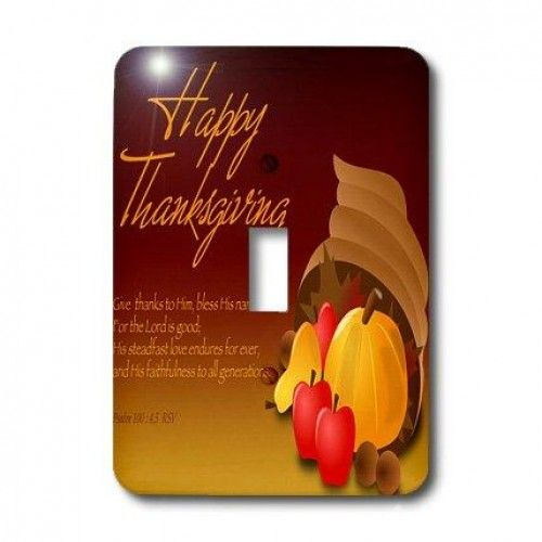 """3dRose LLC lsp_26778_1 Happy Thanksgiving Cornucopia with Bible Verse Psalm 100 Single Toggle Switch  Happy #Thanksgiving Cornucopia with Bible Verse Psalm 100 Light #Switch #Cover is made of durable scratch resistant metal that will not fade, chip or peel. Featuring a high gloss finish, along with matching screws makes this cover the perfect finishing touc  Features : Dimensions: 3 1/2 H x 5"""" W *Made of strong, durable scratch-resistant metal"""