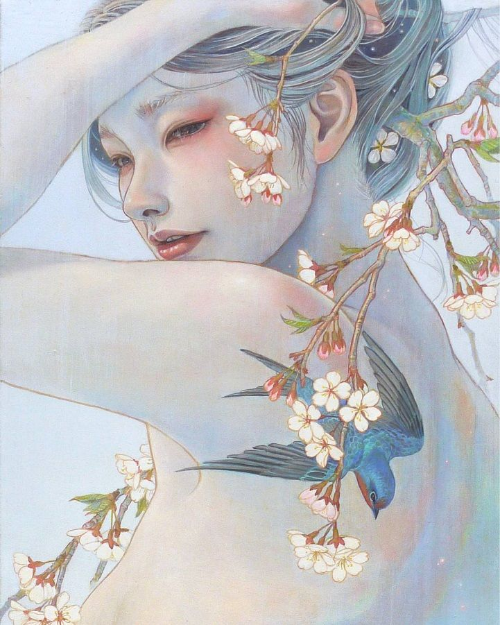 ArtistMiho Hirano's oil paintings communicate a delicate beauty through the use of soft colors and fluid brushstrokes. Featuring ethereal woman and fragments of the natural world, each of Hirano's paintings emote a melancholic longing that beckons one into her character's striking fantasy-lands. Her paintings show a fairy-tale that has been infused with culturally significant elements and lingering, beautiful figures. Hirano is a Japanese artist living in Abiko, Chiba. She graduated from…
