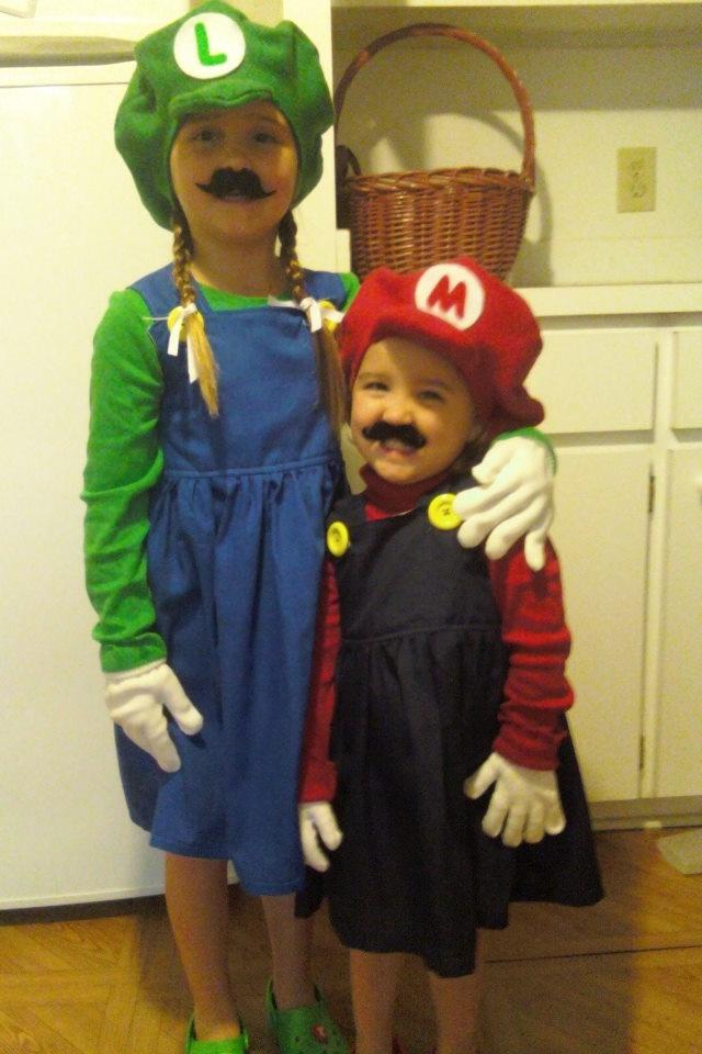 halloween costume girl mario and luigi dresses homemade - Girl Mario And Luigi Halloween Costumes