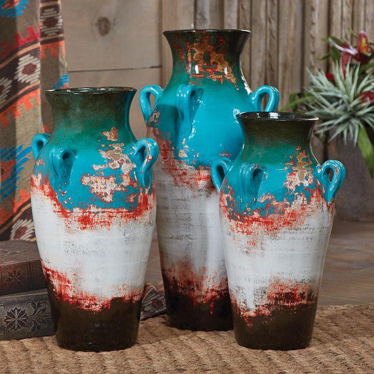 Santa Fe Teal Pottery Vases (Set of 3)