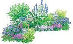 Sommer Ab Juni spielen im gleichen Beet romantisch anmutende blaue, rosafarbene und weiße Blütenstauden die Hauptrolle. Die hohe Schneeforsythie (Abeliophyllum) und der Chinaschilf (Miscanthus) bilden den grünen Rahmen.