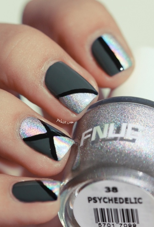 psychedelic nails, manicure, silver, black and dark grey