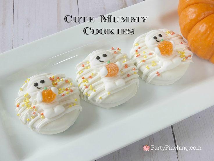 Mummy cookies, cute cookies for Halloween, Oreo Halloween cookies, Halloween treat party food ideas for kids, fun food, sweet treats, kid friendly food, Wilton