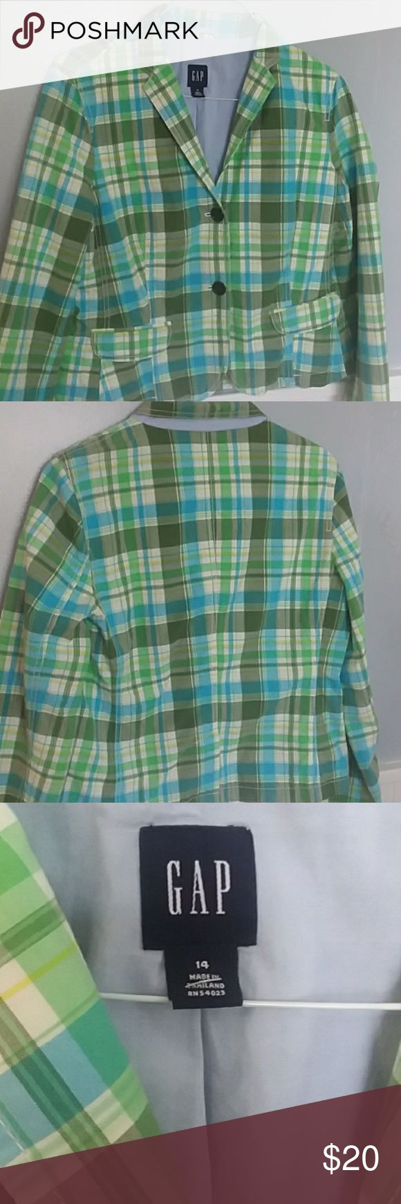 GAP size 14 plaid blazer womens Double pocket blue green plaid, great condition, can wear with jeans or dress pants GAP Jackets & Coats Blazers