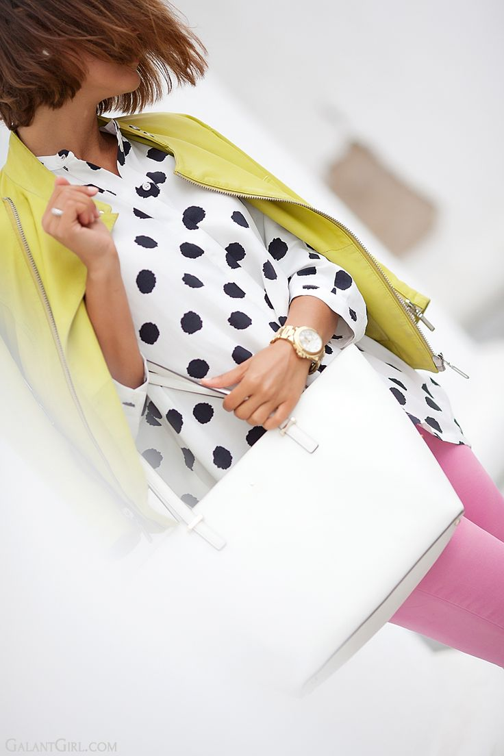 polka dot outfit with Kate Spade New York bag