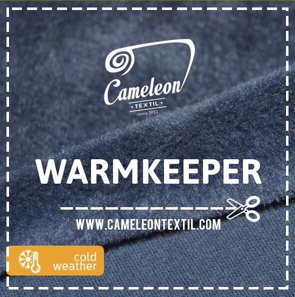 Is a double very dense fabric made of cotton, polyester and spandex fibers for stretchiness. One side of the fabric looks like a dense artificial fleece, while the other side has a simple jersey knit look.    #cameleontextil #textiles #fabric #industry #b2b #europe #market #fashion #design #autumn #winter #warmkeeper