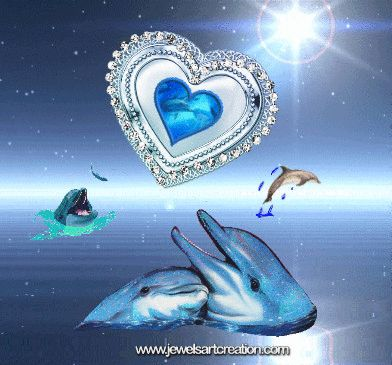 Dolphin Love | Jewels Art Creation Lovely Dolphins. And Peaceful Blue with a Wonderful Match. ☺❤