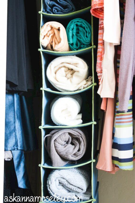 sweater+storage+in+hanging+shoe+holder