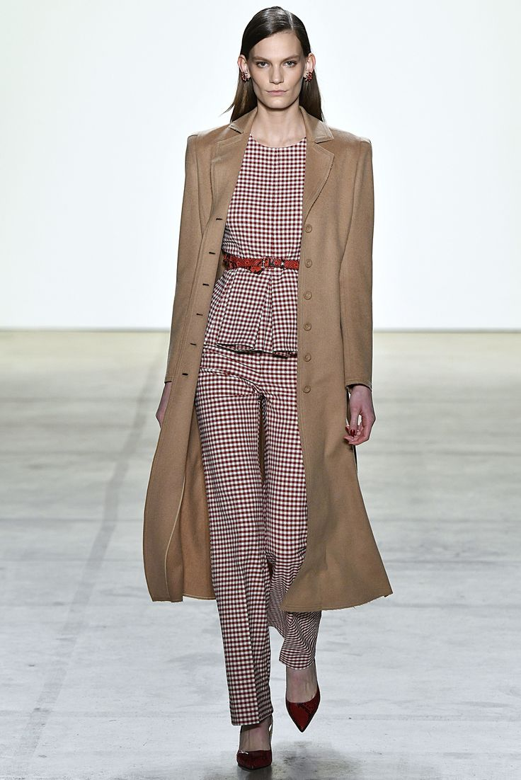 Brock Collection's gingham blouse and tailored pant.  Check Mate: Plaid Is Fall 2017's Must-Have Print Photos | W Magazine