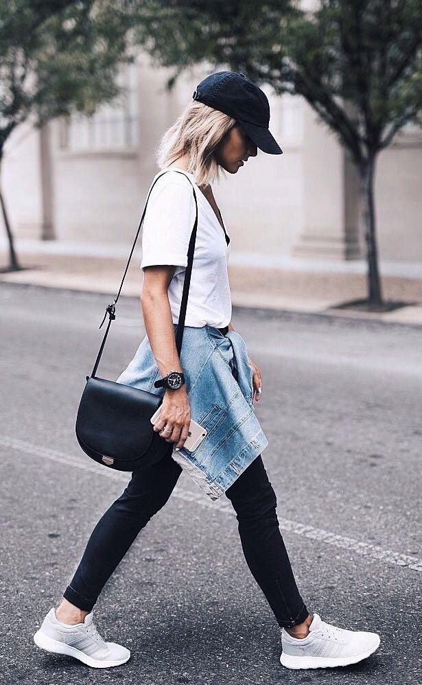 Womens fashion | fall | style | fashion | outfit | street style | adidas | kicks | hat | denim | jacket | casual | hair | blonde Instagram: JO  KEMP