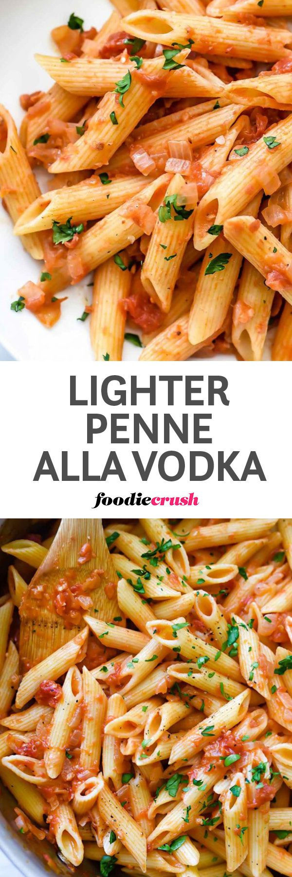 Easy Penne Alla Vodka Pasta Recipe | Almond Milk Recipe | Penne ala Vodka Recipe | Vodka Sauce | Light Pasta Sauce | no cream vodka sauce | Skinny pasta sauce | This classic easy American-Italian penne pasta recipe uses almond milk for a lightened up calorie count that keeps it creamy as a main meal or a tasty side dish. | foodiecrush.com