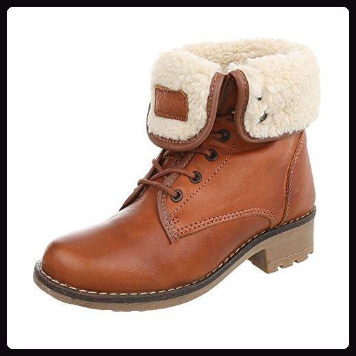Fashion Stiefel Damen Schuhe Schnurer Boots 4061 Camel 40