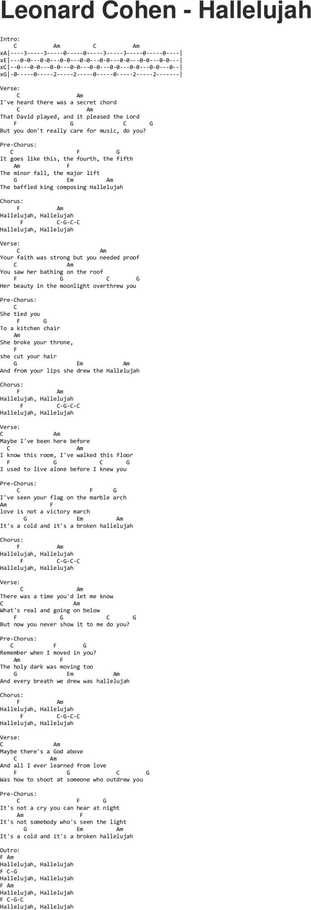 Leonard Cohen - Hallelujah ukulele tabs... great song but I think him singing it is creepy. Others sing it better.