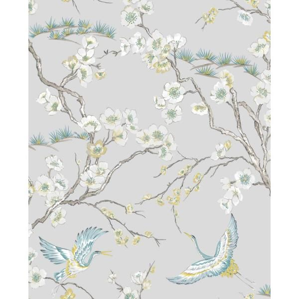 Kabuki Japan Vinyl Strippable Roll Covers 56 Sq Ft 106565 The Home Depot In 2021 Grey Floral Wallpaper Blue Wallpapers Wallpaper