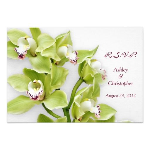 Green Cymbidium Orchid Wedding Reply RSVP Card Announcements