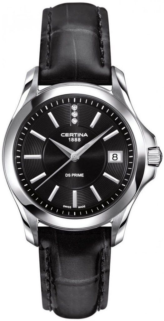 Certina Watch DS Prime Lady Round Quartz #bezel-fixed #bracelet-strap-leather #brand-certina #case-material-steel #case-width-32mm #date-yes #delivery-timescale-7-10-days #dial-colour-black #gender-ladies #luxury #movement-quartz-battery #official-stockist-for-certina-watches #packaging-certina-watch-packaging #style-dress #subcat-ds-prime-lady #supplier-model-no-c004-210-16-056-00 #warranty-certina-official-2-year-guarantee #water-resistant-100m